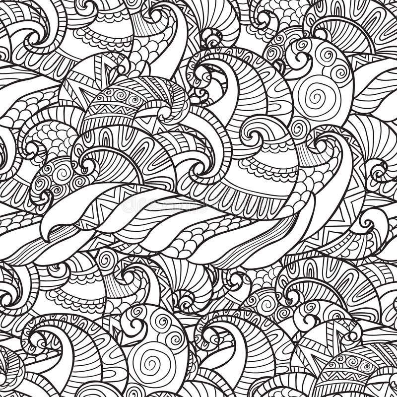 Seamless Pattern from wavesvector. Coloring for adults. Seamless Pattern from wavesvector in white and black colors with. Can be used as adult coloring book vector illustration