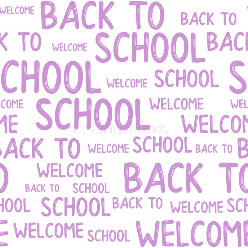 Seamless pattern of back to school words quotes. vector illustration