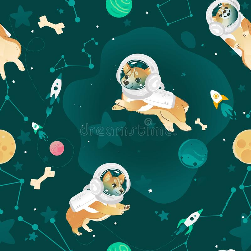 Seamless pattern with Welsh Corgi dogs flying in open space cartoon style. Vector illustration. Textile or wallpaper repeating print with puppies in astronaut royalty free illustration