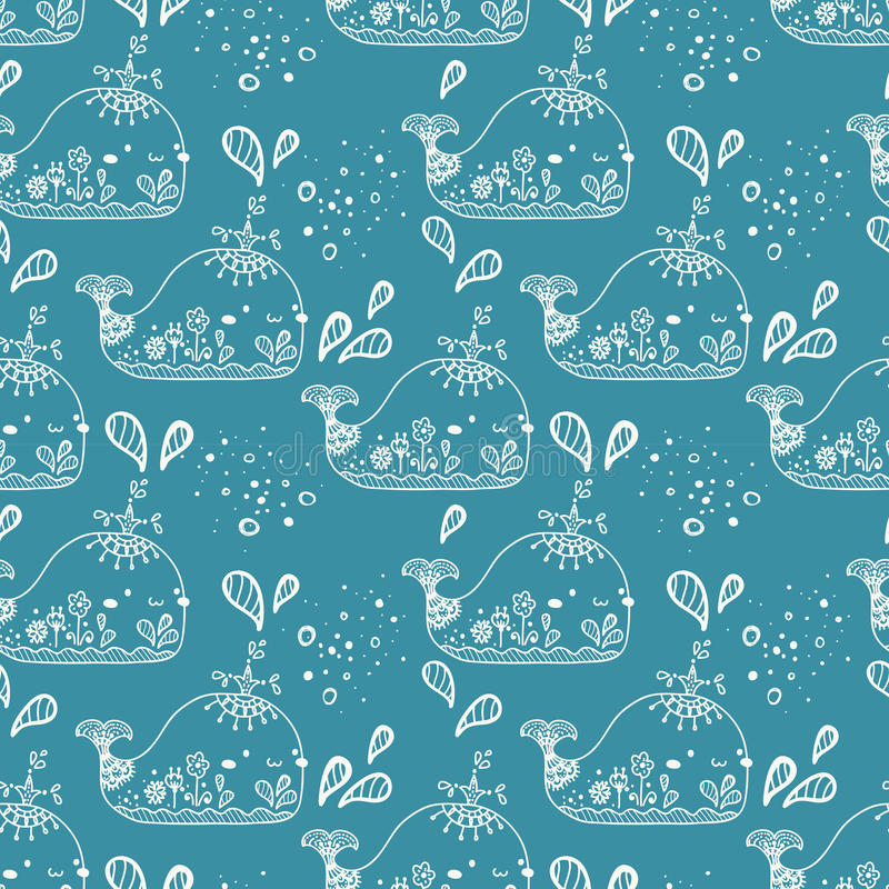 Seamless pattern with whale. Cute illustration vector illustration