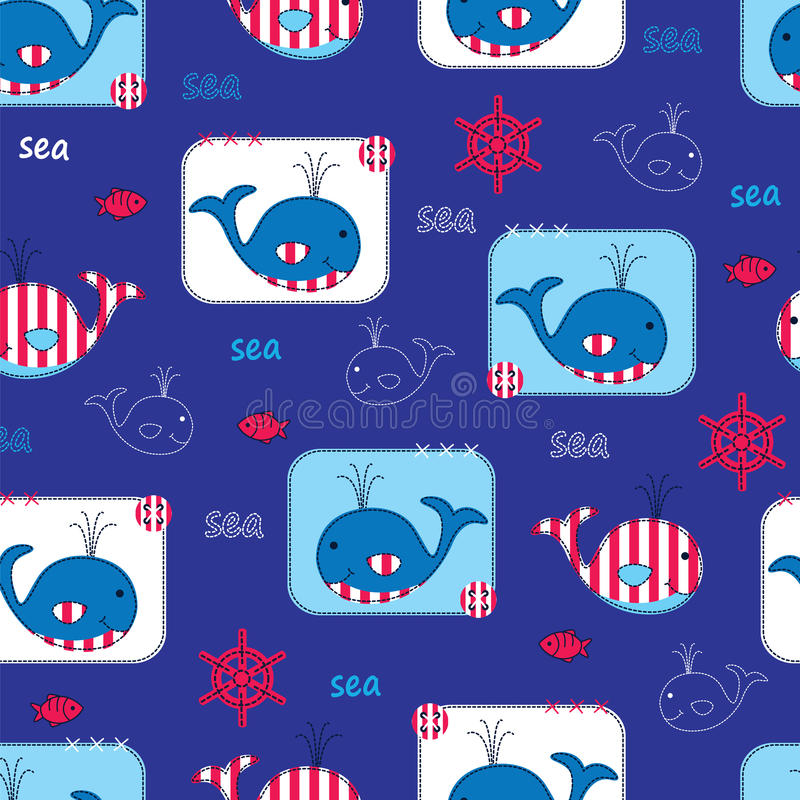 Seamless pattern with whales royalty free illustration