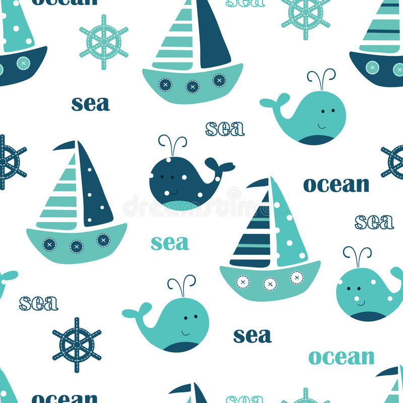 Seamless pattern with whales, sailing ships and lettering royalty free illustration