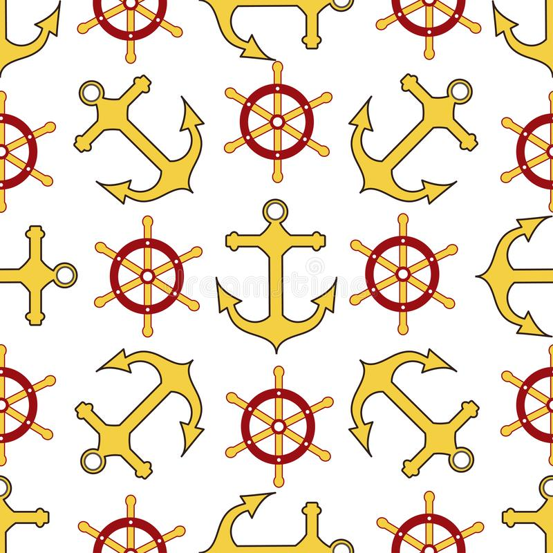 Seamless pattern. Wheel, anchor. Endless textures for your pirate party design, greeting cards, and, posters. - Vector graphics vector illustration