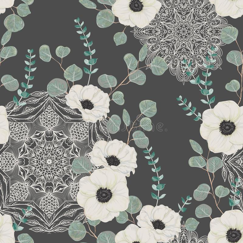 Seamless pattern with white anemone, eucalyptus and with ornate mandala. Floral background with lace ornament. stock illustration