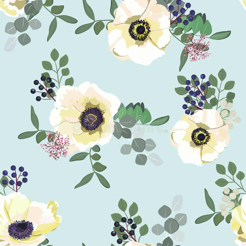 Seamless pattern with white anemone flowers, berries and greenery on blue background. Winter floral design for wedding stock illustration