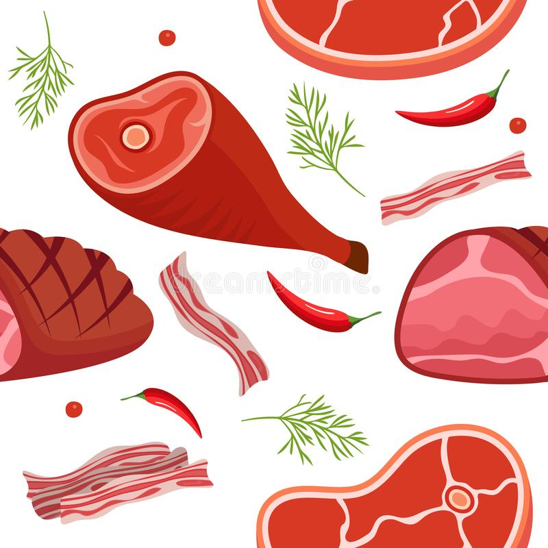 Seamless pattern on white background with gammon, ham, bacon, steak on the bone, hot pepper and dill. Meat products vector illustration