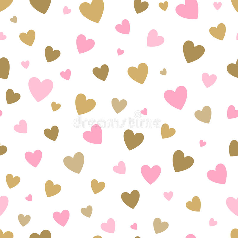 Seamless pattern white background with pink and gold hearts. design for holiday greeting card and invitation of baby royalty free illustration