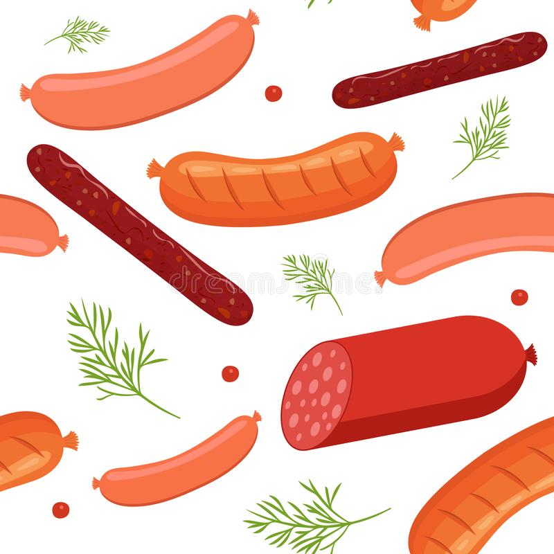 Seamless pattern on white background with sausages and salami. Sausage, salami and meat food with dill and peppercorns royalty free illustration