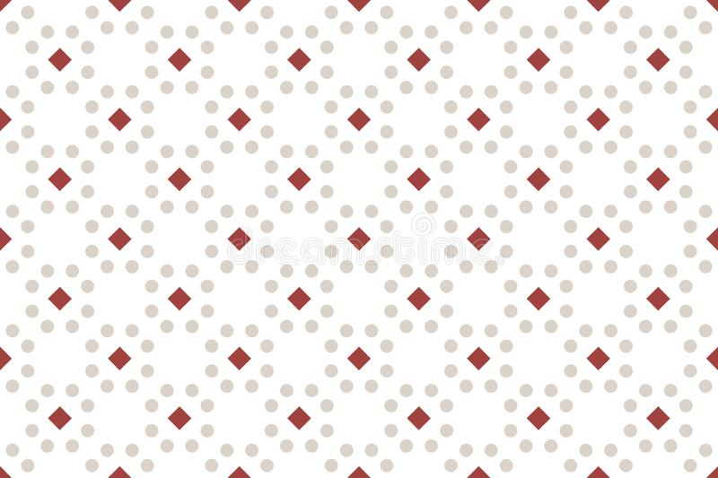Seamless pattern. White background, shaped 45 degree rotated squares and circles royalty free illustration
