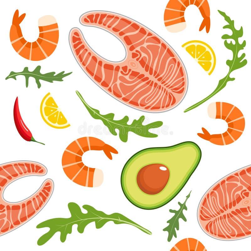 Seamless pattern on white background with shrimp, salmon, avocado, arugula and lemon slice. Seafood and avocado vector illustration