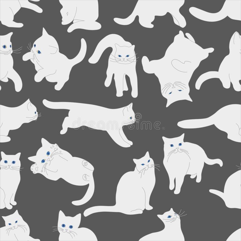 Seamless pattern with white cats in various postures on gray background, hand drawing royalty free illustration