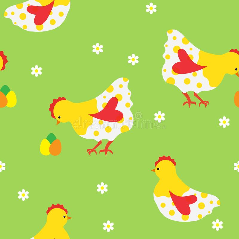 Seamless pattern with white chickens, flowers and colored eggs. stock illustration