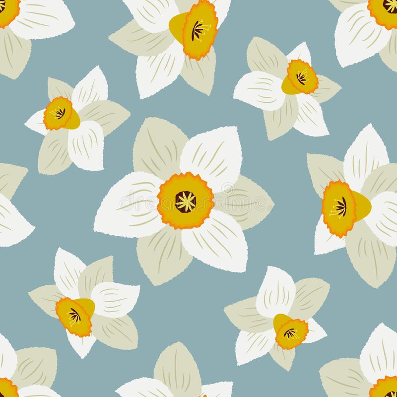 Seamless pattern with white daffodils on a blue background stock illustration