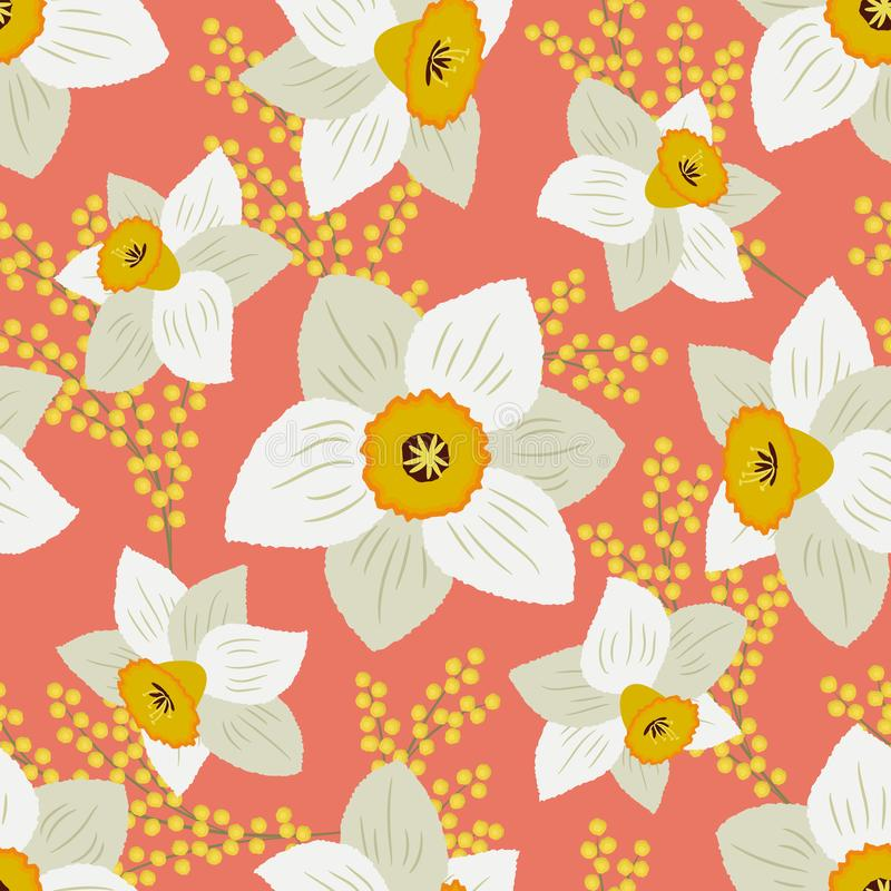 Seamless pattern with white daffodils and yellow mimosa on a peach pink background vector illustration