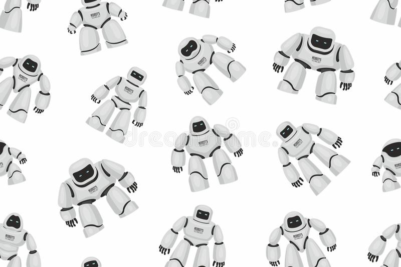 Seamless pattern of White Different Robots vector illustration