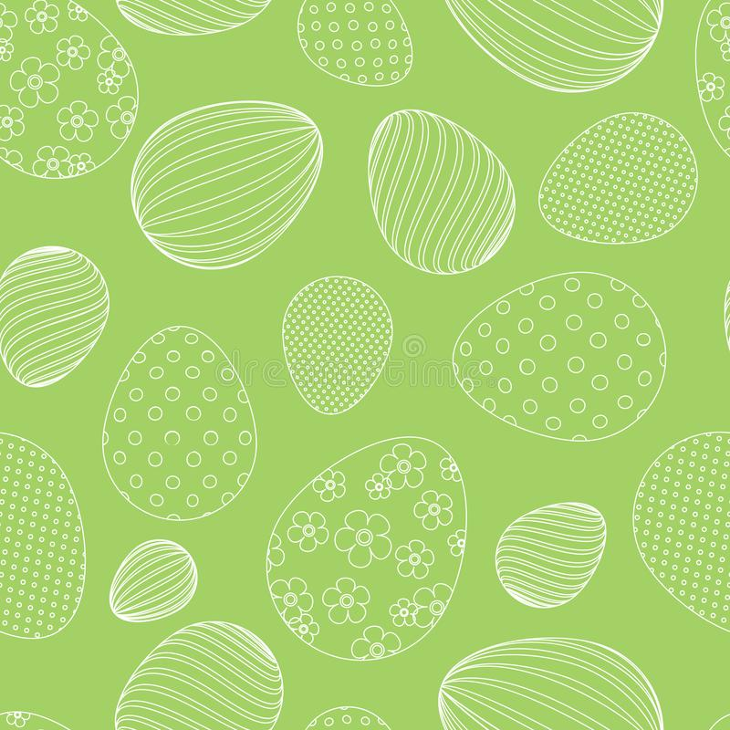 Seamless pattern from white easter eggs on a green background Decorative festive background for design of tags cards banners vector illustration