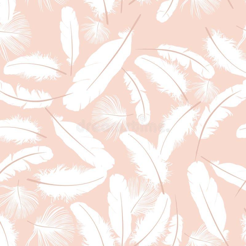 Seamless pattern white feathers royalty free illustration