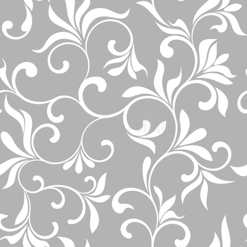 Seamless pattern with white flowers on a gray background vector illustration