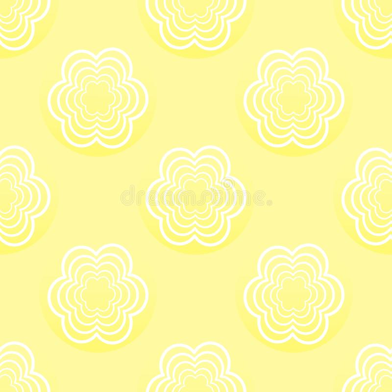 Seamless pattern with white flowers on a yellow background stock illustration