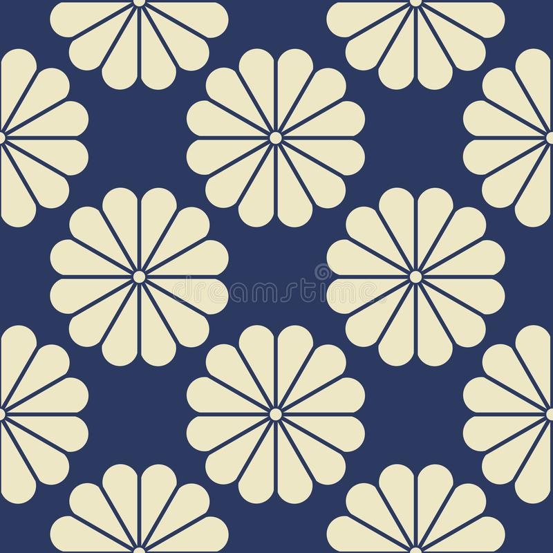 Seamless Pattern of White Geometric Flower Elements on Blue Navy Background royalty free illustration