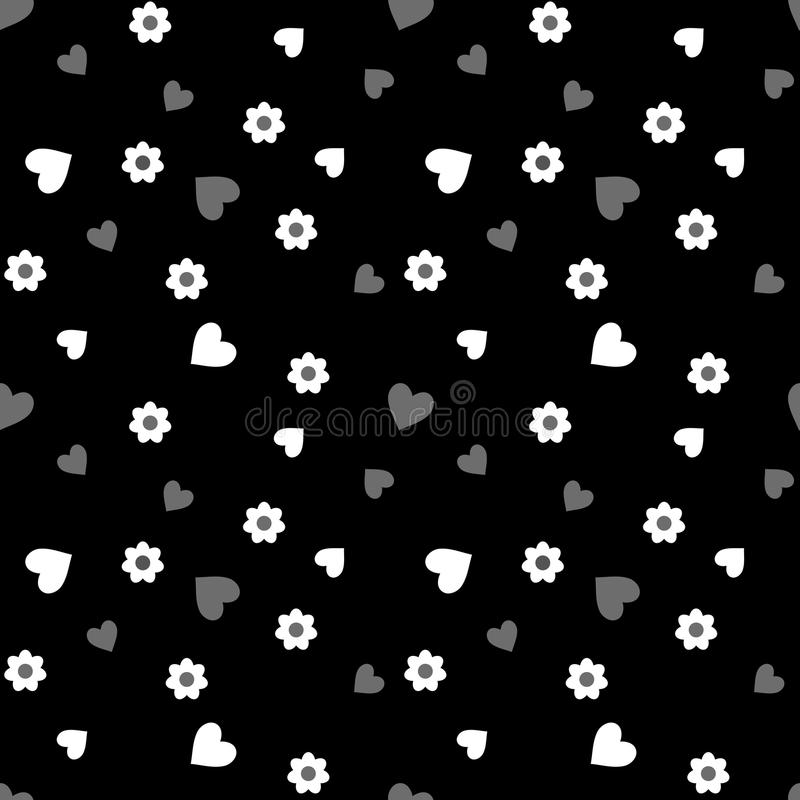 Seamless pattern with white and gray hearts and flowers on a black stock illustration