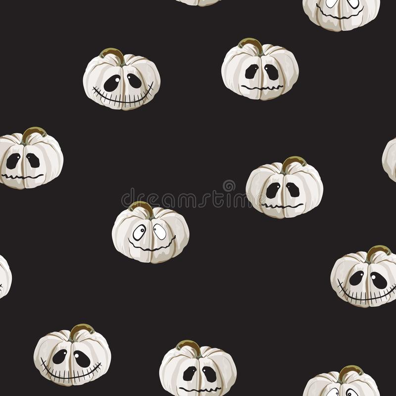 Seamless pattern with white Halloween pumpkins carved faces on black background. Can be used for scrapbook digital paper, textile vector illustration