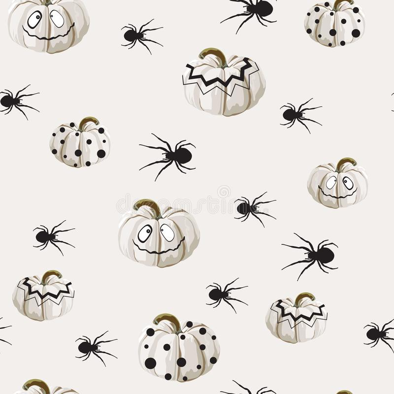 Seamless pattern with white Halloween pumpkins carved faces and spider on light background. Can be used for scrapbook digital paper, textile print, page fill vector illustration