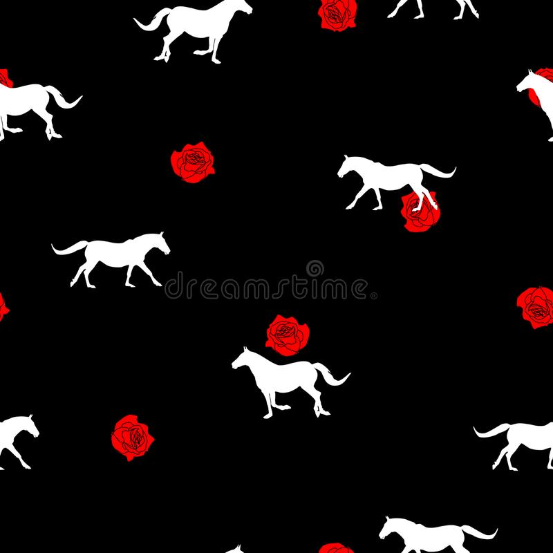 Seamless pattern white Horse silhouette, small red rose on black. Seamless wild animals pattern white Horses silhouette and small red roses on black background vector illustration