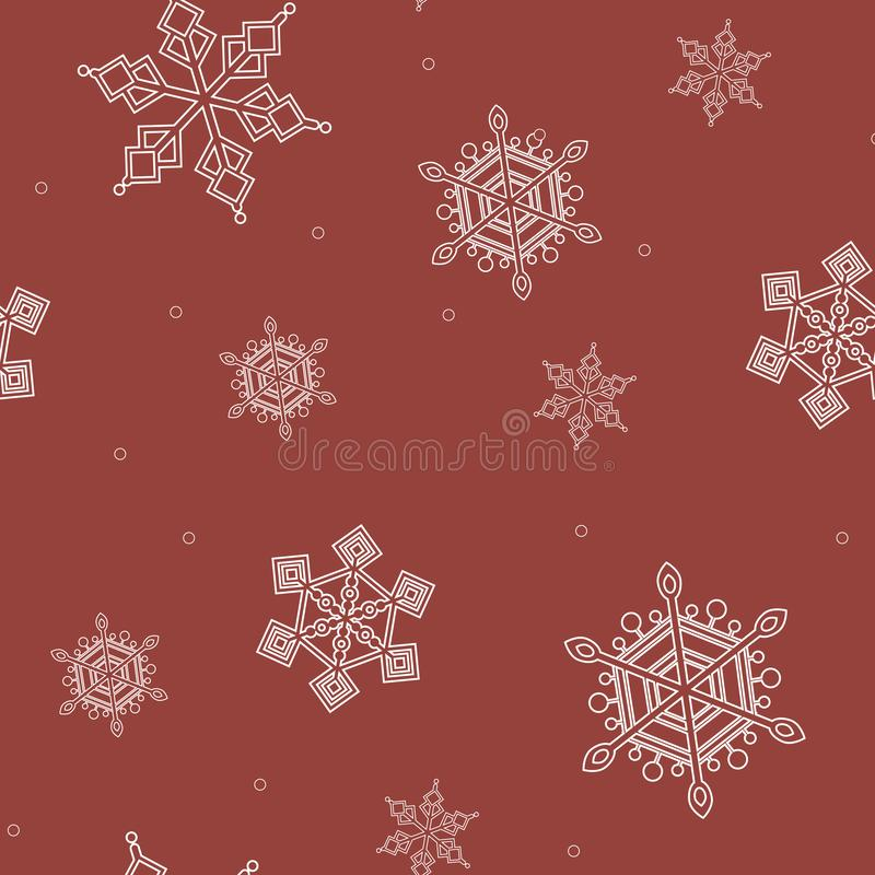A seamless pattern with white outline snowflakes on a red background for Christmas print. A linear vector stock illustration with snow for new year and christmas royalty free illustration