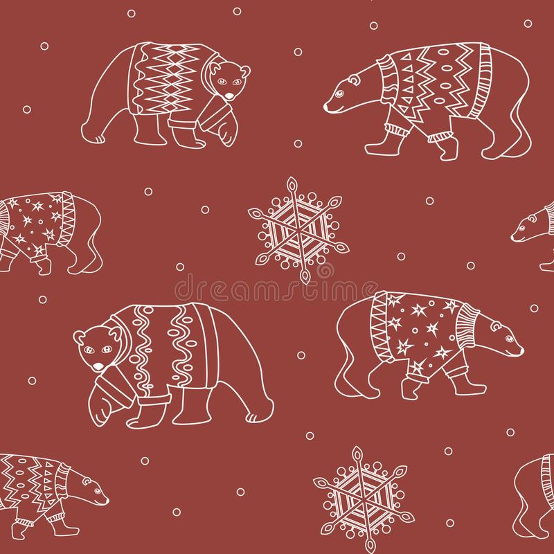 A seamless pattern with white outline vector polar bear on a red background for printing on Christmas wrapping paper or fabric. Festive Christmas pattern with a vector illustration