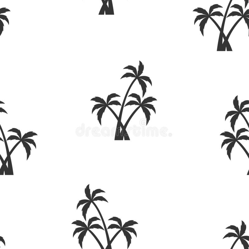 Seamless pattern with white palm trees. Beautiful botanical vector seamless pattern background with palm trees silhouettes, isolated on white background royalty free illustration