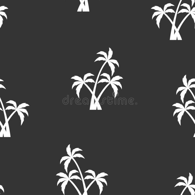 Seamless pattern with white palm trees. Beautiful botanical vector seamless pattern background with palm trees silhouettes, isolated on black background stock illustration
