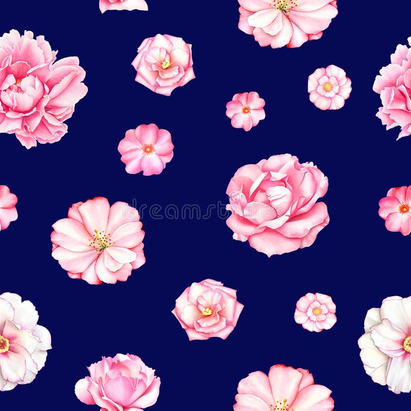 Seamless pattern with white, pink and red peony flowers vector illustration