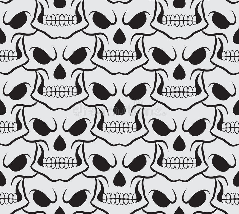 Seamless pattern with white skulls stock illustration