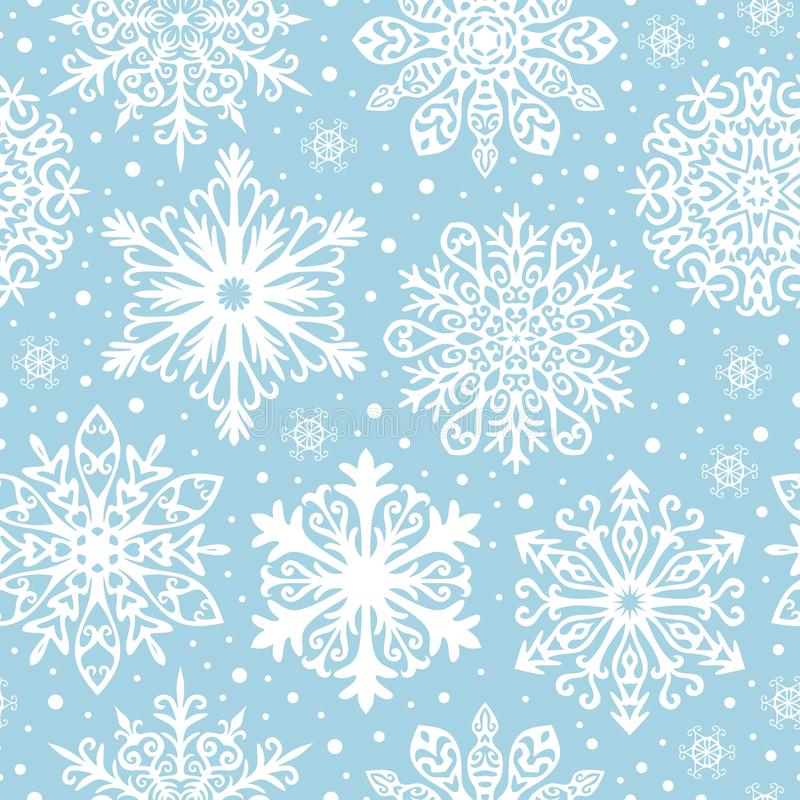 Seamless pattern with white snowflakes on blue background. Winter background for Christmas, Noel, New Year vector illustration