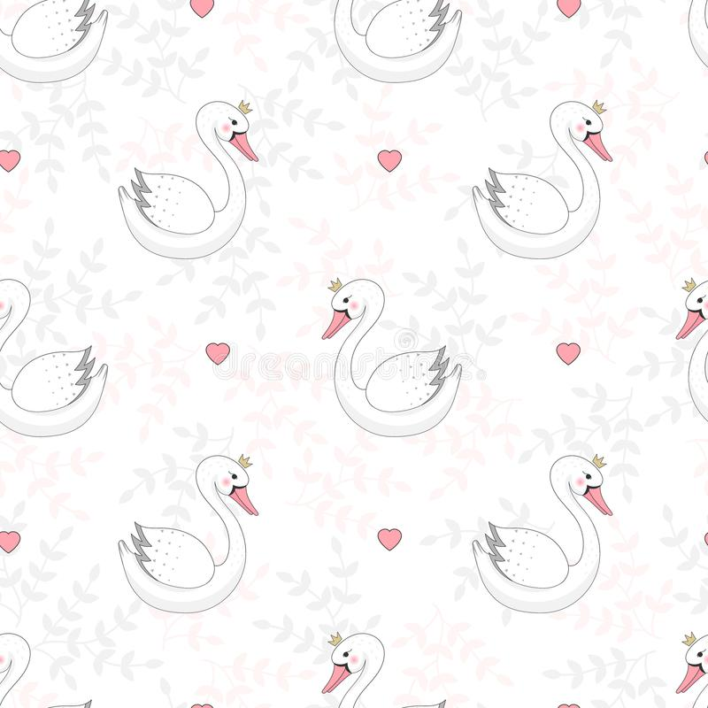 Seamless pattern with white swan stock illustration