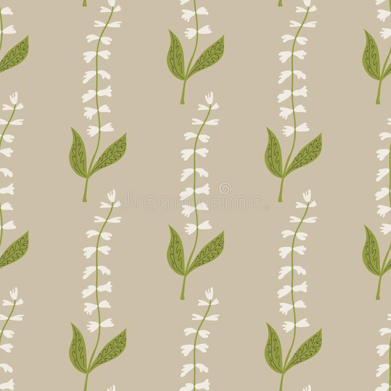 Seamless pattern of white tinkerbell flowers on a beige background. royalty free illustration