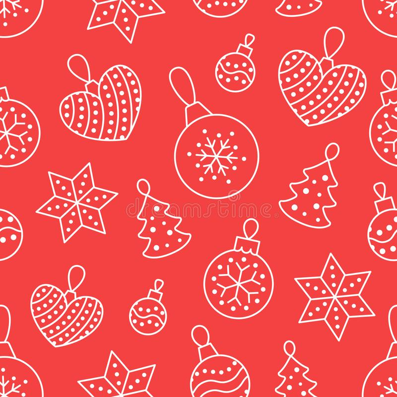 Seamless pattern with white toy balls, heart, star on red background. Flat line pine tree decoration icons, cute repeat. Wallpaper. Nice element for christmas royalty free illustration