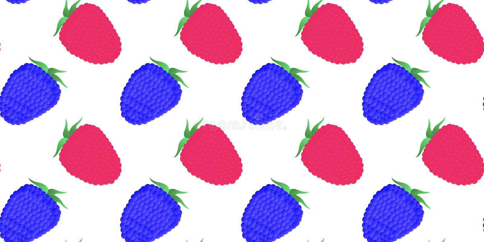 Seamless pattern. Whole juicy raspberry and blackberry berries on a white background. Vector vector illustration