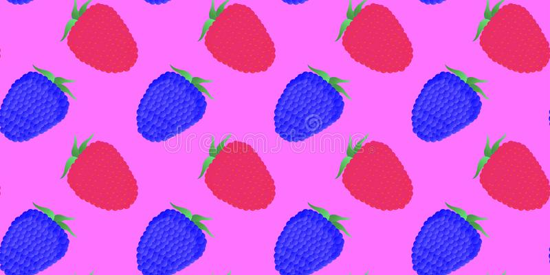 Seamless pattern. Whole raspberry and blackberry berries on a purple background. Vector stock illustration