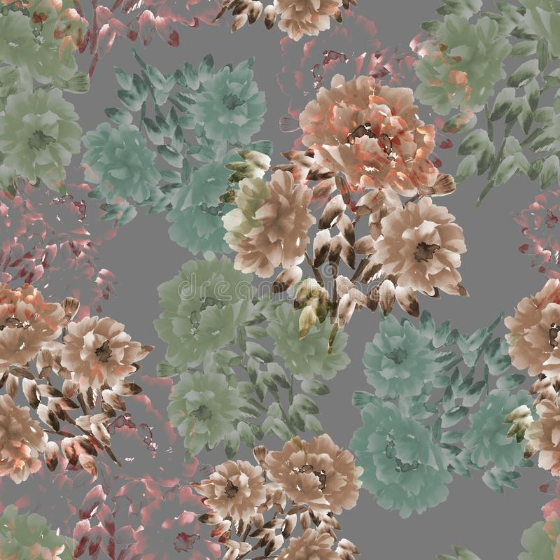 Seamless pattern of beige and green flowers of peonies on a deep gray background. Floral background. Watercolor vector illustration