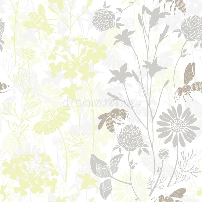 Seamless pattern with wild flowers and bees. Vector illustration with summer meadow. Vector background with silhouettes of wild flowers and bees. Floral pattern stock photography