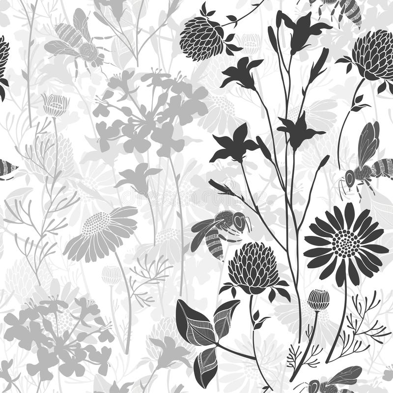 Seamless pattern with wild flowers and bees. Vector illustration with summer meadow. Monochrome version. Vector background with silhouettes of wild flowers and royalty free stock image