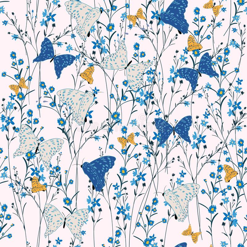 Seamless Pattern wild flowers,butterflies, Isolated on pink col stock illustration