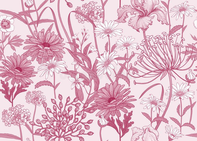 Seamless pattern with wild flowers. Red and white pattern vector illustration