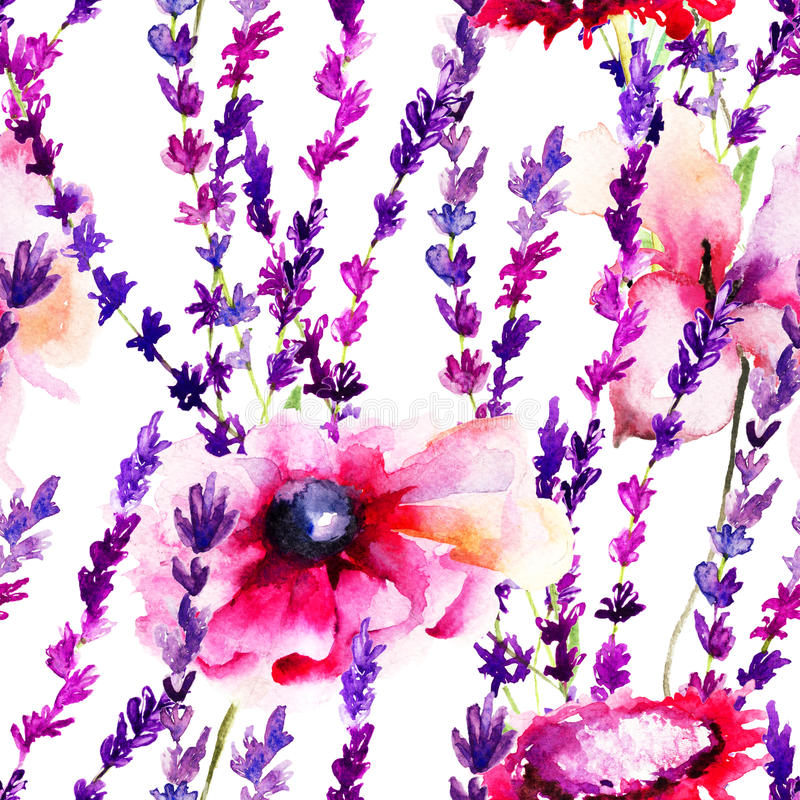 Seamless pattern with wild flowers stock illustration