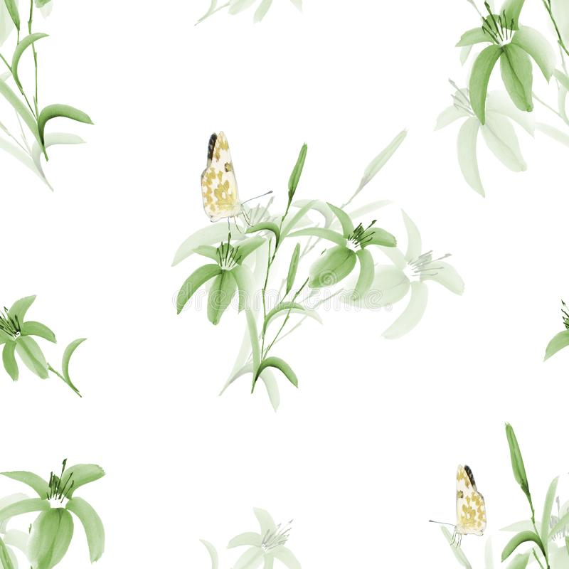 Seamless pattern of wild green leaves and flowers with yellow butterfly on a white background. Watercolor vector illustration