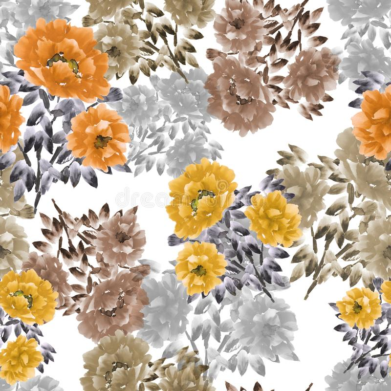 Seamless pattern of orange, yellow, beige flowers of peonies on a white background. Floral background. Watercolor vector illustration