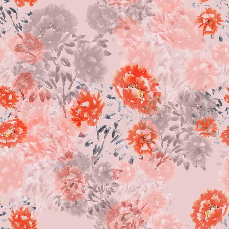 Seamless pattern of red, pink, beige flowers of peonies on a light pink background. Floral background. Watercolor stock illustration