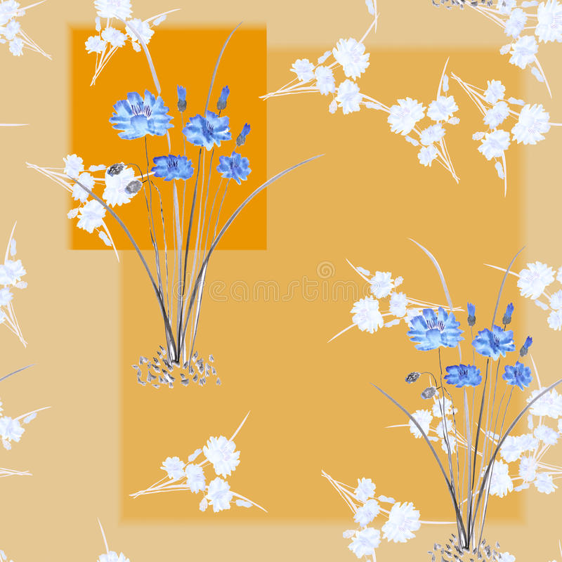 Seamless pattern of wild small white bouquets and blue flowers on a beige background with geometric orange shapes. Watercolor. royalty free stock images